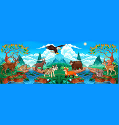funny wood animals in a mountain landscape vector image
