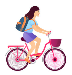 girl with a backpack riding a bike back to school vector image