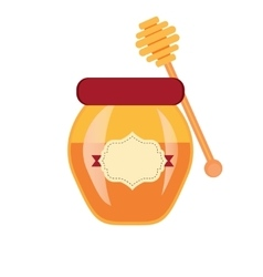 Glass can full of honey jar and wooden stick vector
