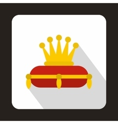 Gold crown on red pillow icon flat style vector image