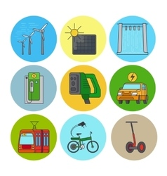 Green power and eco transport icons vector image