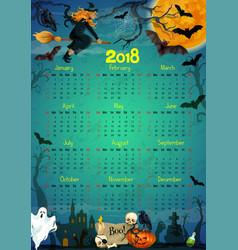 Halloween holiday horror calendar 2018 vector