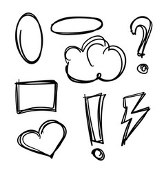 hand drawn speech bubbles set isolated on white vector image