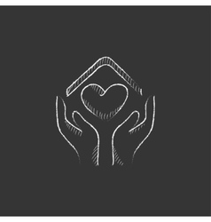 Hands holding house symbol with heart shape Drawn vector