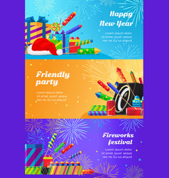 happy new year fireworks festival and party vector image