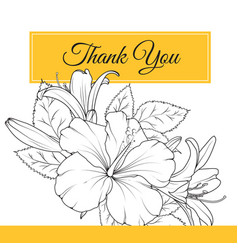 Hibiscus lily flowers thank you card template vector