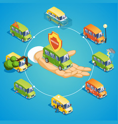 isometric car insurance round concept vector image