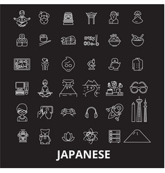japanese editable line icons set on black vector image