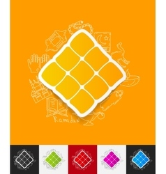 Ketupat paper sticker with hand drawn elements vector