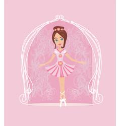 Little ballerina card vector