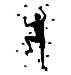 man climbing silhouette climber on cliff vector image