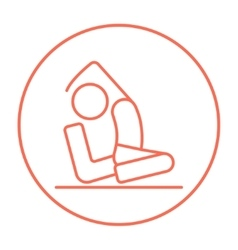 Man practicing yoga line icon vector