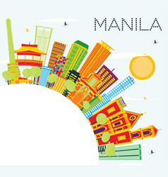 Manila skyline with color buildings blue sky and vector