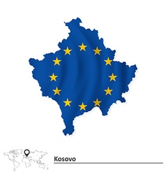 Map of Kosovo with European Union flag vector