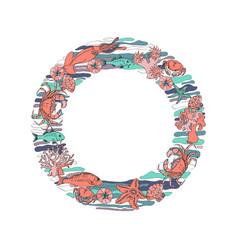 marine-themed circle shape design element sea vector image