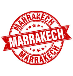 Marrakech red round grunge vintage ribbon stamp vector