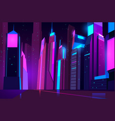 night city in neon lights futuristic cityscape vector image