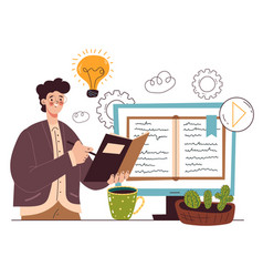 online web distance education studying information vector image