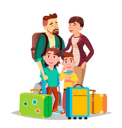 parents and children traveling with suitcases vector image