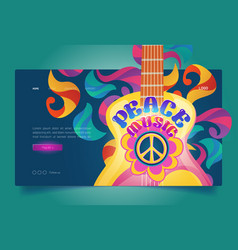 Peace music banner with hippie sign and guitar vector