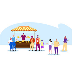 people standing line queue to baked goods stall vector image