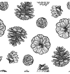 pine cones seamless pattern isolated on white vector image