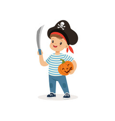 Pirate boy holding sword and pumpkin cute kid in vector