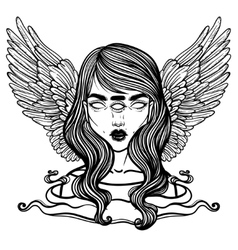 Portrait of mystic angel or demon of death in the vector image