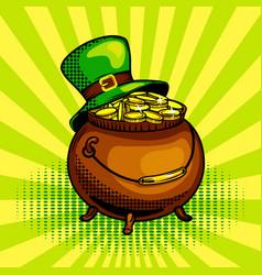 pot gold pop art vector image