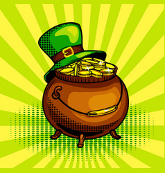 Pot of gold pop art vector