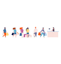 queue store shopping people with products vector image