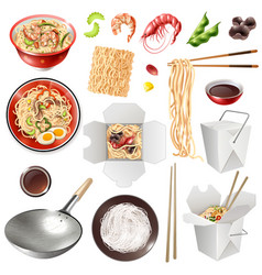 Realistic chinese noodles set vector