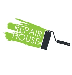 Renovation Painting roller and the trace of paint vector