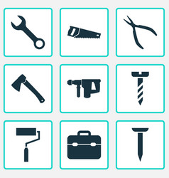 repair icons set collection of axe bolt spanner vector image