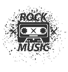 Rock music band black white logotype classic old vector