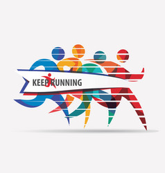 running people set of stylized silhouettes sport vector image