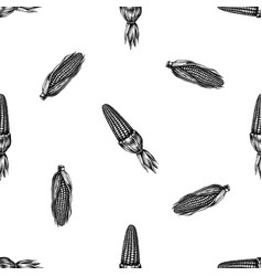 seamless pattern with black and white corn vector image
