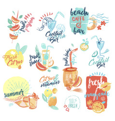 set of fresh fruit juice and drinks signs vector image