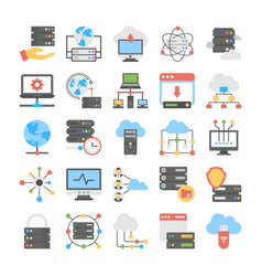 Set web hosting flat icons vector