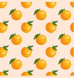 Summer pattern with oranges seamless texture vector