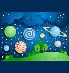 Surreal landscape with big planets in the sky vector