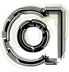 Technological font LETTER a vector