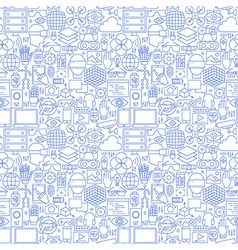 Thin Line Virtual Reality White Seamless Pattern vector