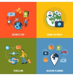 Travel concept flat icons composition vector image