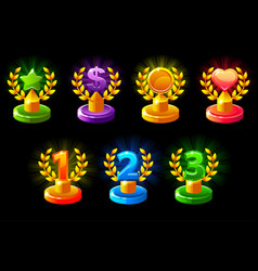 Trophies different colored 1st 2nd 3rd place vector