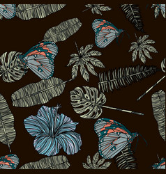 tropical leaves hibiscus and butterfly pattern vector image vector image