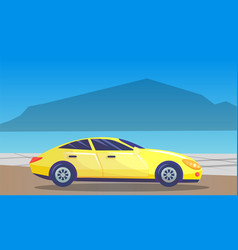 vehicle passing natural or urban landscape vector image
