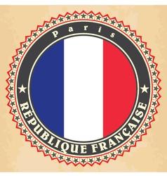 vintage label cards france flag vector image