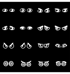 white cartoon eyes icon set vector image