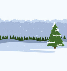 winter nature landscape with fir-tree and falling vector image
